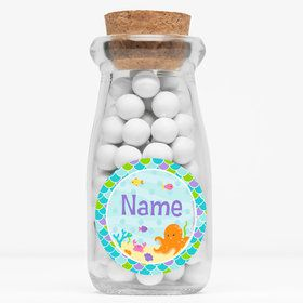"Mermaid Friends Personalized 4"" Glass Milk Jars (Set of 12)"