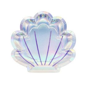 Mermaid Shine Iridescent Shell Shaped Lunch Plates (8)