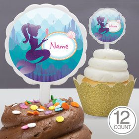 Mermaid Under the Sea Personalized Cupcake Picks (12 Count)
