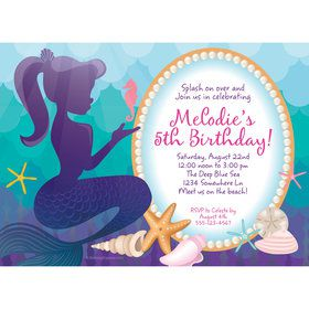 Mermaid Under the Sea Personalized Invitation (Each)