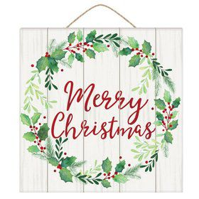 Merry Christmas Wreath Square Hanging Sign