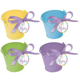 Metal Pastel Pail Baby Shower Favor Kit (8 Count)