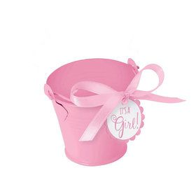 Metal Pink Pail Baby Shower Favor Kit (8 Count)