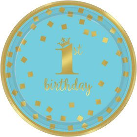 Metallic Blue & Gold Confetti 1st Birthday Dessert Plates (8)
