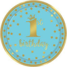 Metallic Blue & Gold Confetti 1st Birthday Lunch Plates (8)