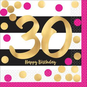 Metallic Pink & Gold 30th Birthday Beverage Napkins (16)