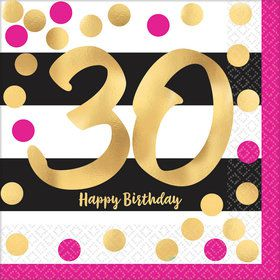 Metallic Pink & Gold 30th Birthday Luncheon Napkins (16)