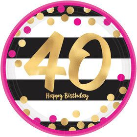 Metallic Pink & Gold 40th Birthday Dessert Plates (8)