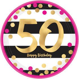 Metallic Pink & Gold 50th Birthday Dessert Plates (8)