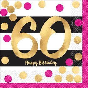 Metallic Pink & Gold 60th Birthday Beverage Napkins (16)