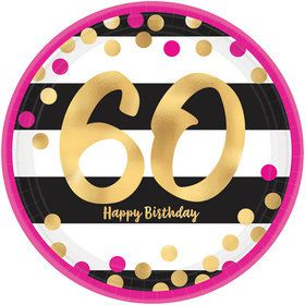 Metallic Pink & Gold 60th Birthday Dessert Plates (8)