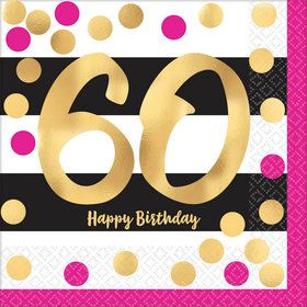 Metallic Pink & Gold 60th Birthday Luncheon Napkins (16)
