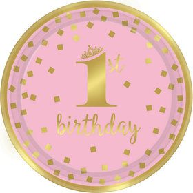 Metallic Pink & Gold Confetti 1st Birthday Lunch Plates (8)