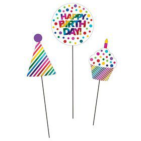 Metallic Rainbow Centerpiece Sticks (3)