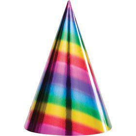 Metallic Rainbow Cone Hats (8)