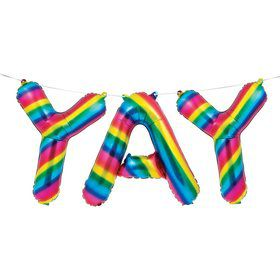 "Metallic Rainbow ""Yay"" Balloon Banner"
