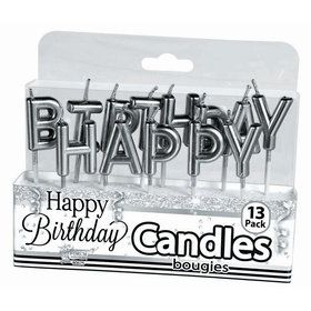 Metallic Silver Happy Birthday Candles (13)