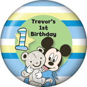 Mickey 1st Birthday Personalized Button (Each)