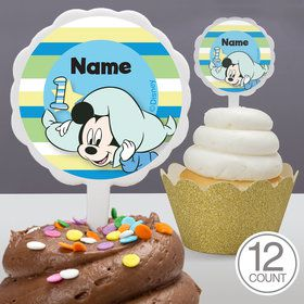 Mickey 1St Birthday Personalized Cupcake Picks (12 Count)