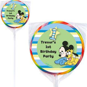 Mickey 1st Birthday Personalized Lollipops (12 Pack)