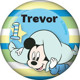 Mickey 1st Birthday Personalized Mini Button (Each)