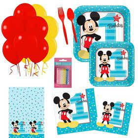 Mickey Mouse 1st Birthday Party Essentials Kit (Serves 16)