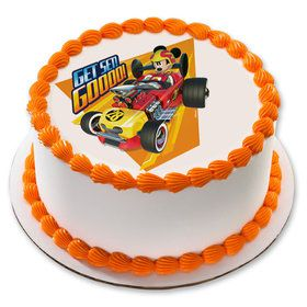 "Mickey Roadster 7.5"" Round Edible Cake Topper (Each)"