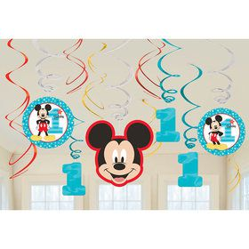 Mickey's Fun To Be One Foil Swirl Decorations (12 Pieces)