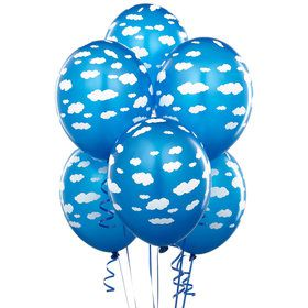 Mid Blue with Clouds Matte Balloons