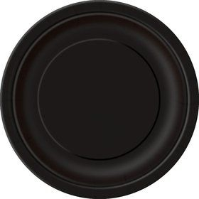 Midnight Black Cake Plates (20 Count)