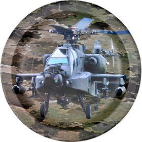 "Military Camo Apache Helicopter Party Plate 9"" (8)"