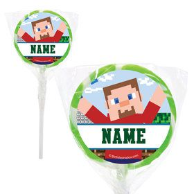 "Mine Blocks Personalized 2"" Lollipops (20 Pack)"