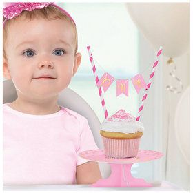 Mini Pink 1st Birthday Cake Stand Set
