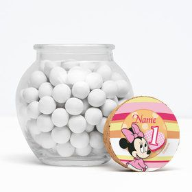 "Minnie 1St Bday Personalized 3"" Glass Sphere Jars (Set of 12)"
