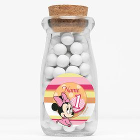 "Minnie 1St Bday Personalized 4"" Glass Milk Jars (Set of 12)"