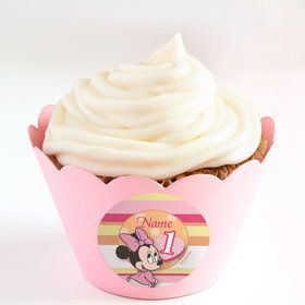 Minnie 1st Bday Personalized Cupcake Wrappers (Set of 24)