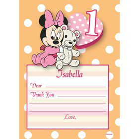 Minnie 1st Bday Personalized Thank You (Each)