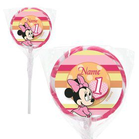 "Minnie 1st Bday Personalized 2"" Lollipops (20 Pack)"