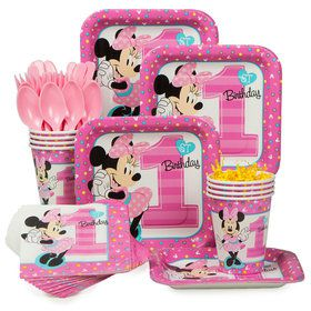 Minnie 1st Birthday Standard Tableware Kit (Serves 8)
