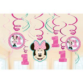 Minnie's Fun To Be One Foil Swirl Decorations (12 Pieces)