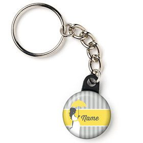"Mod Baby Shower Personalized 1"" Mini Key Chain (Each)"