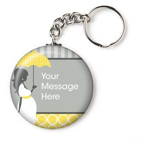 """Mod Baby Shower Personalized 2.25"""" Key Chain (Each)"""