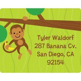 Monkey Party Personalized Address Labels (sheet of 15)