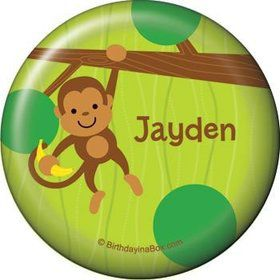 Monkey Party Personalized Button (each)