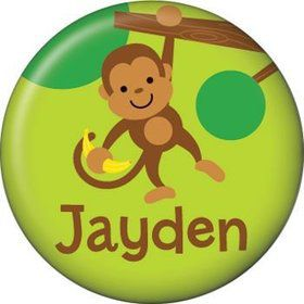 Monkey Party Personalized Mini Button (each)