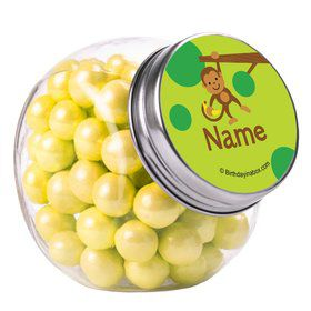 Monkey Party Personalized Plain Glass Jars (12 Count)