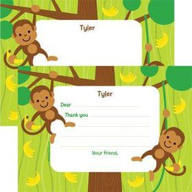 Monkey Party Personalized Thank You Note (each)