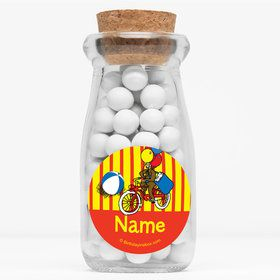 "Monkey Personalized 4"" Glass Milk Jars (Set of 12)"