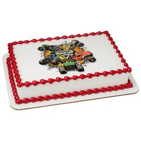Monster Jam Quarter Sheet Edible Cake Topper (Each)