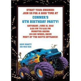 Monster Truck Personalized Invitation (each)